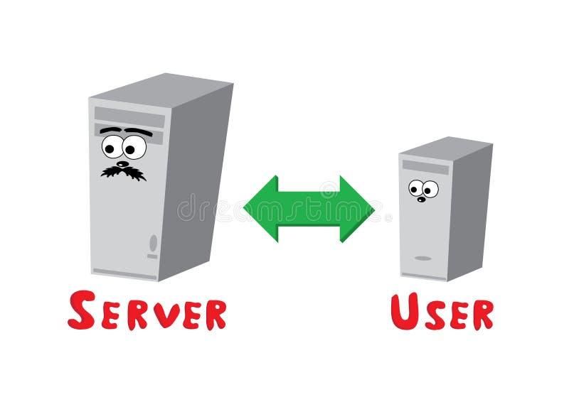 förbindande serveranvändare stock illustrationer