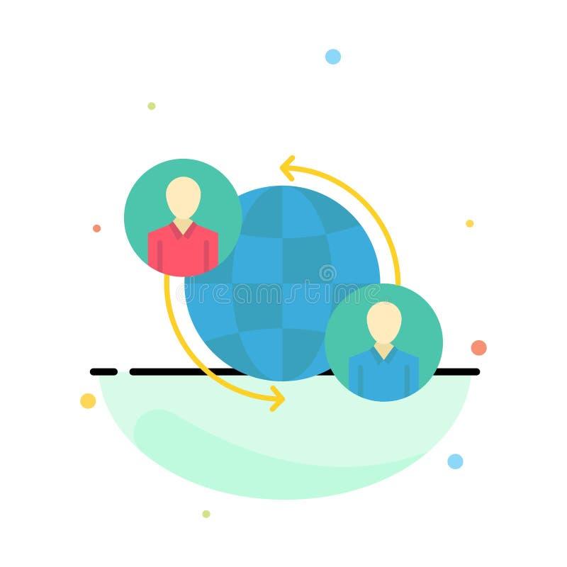 Förbindelse anslutningar, användare, internet, global abstrakt plan färgsymbolsmall royaltyfri illustrationer