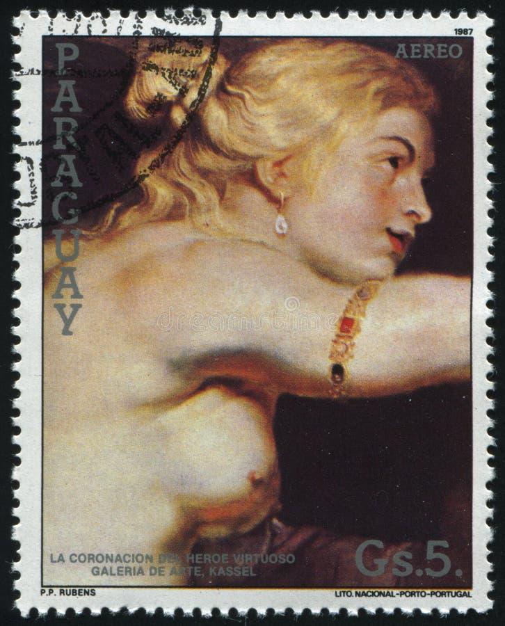 Förbindelse av Henry 4 och Marie de Medici i Lyon av Rubens royaltyfria foton
