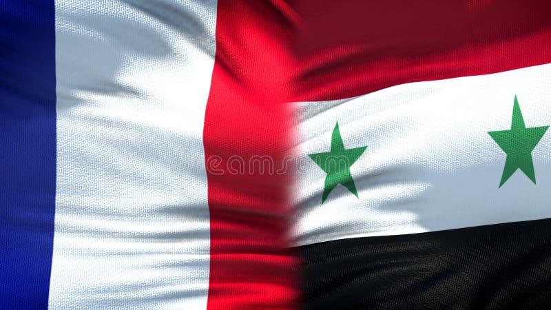 Förbindelse för bakgrund för Frankrike och Syrien flaggor diplomatiska och ekonomiska, säkerhet arkivbild