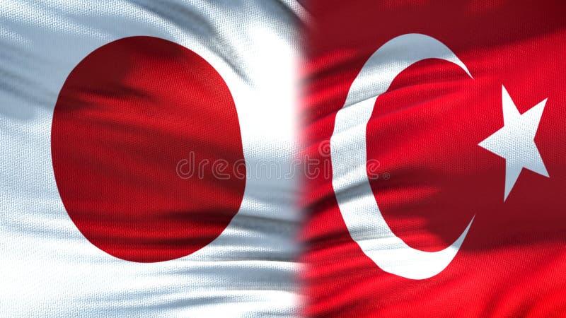Förbindelse för bakgrund för Japan och Turkiet flaggor diplomatiska och ekonomiska, finans arkivfoto