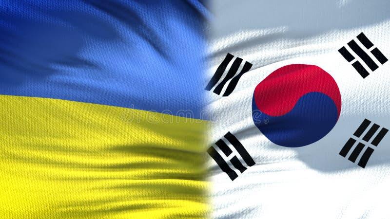 Förbindelse för bakgrund för Ukraina och Sydkorea flaggor diplomatiska och ekonomiska, arkivfoto