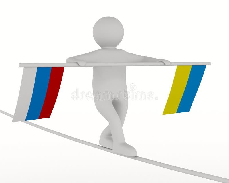 Förbindelse mellan Ryssland och Ukraina stock illustrationer