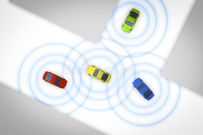 Förbindelseautonoma bilar vektor illustrationer