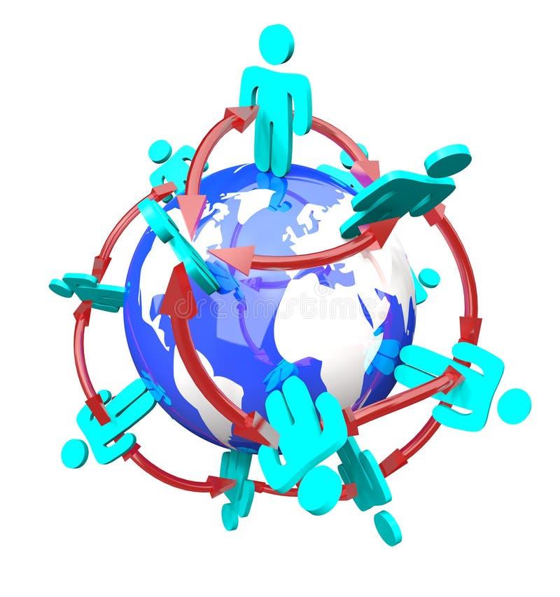 förbindelsefolk för globalt nätverk stock illustrationer