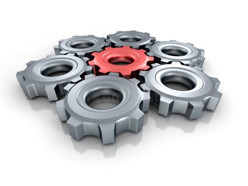 Förbindelsefunktionsdugliga kugghjulkugghjul med på rött olikt vektor illustrationer