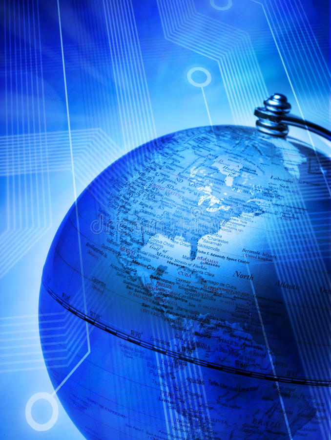 förbindelseglobal teknologivärld royaltyfri illustrationer