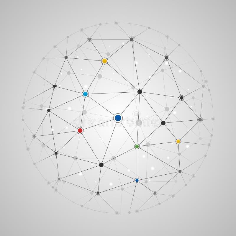 Förbindelselinjer och prickrundamodell stock illustrationer