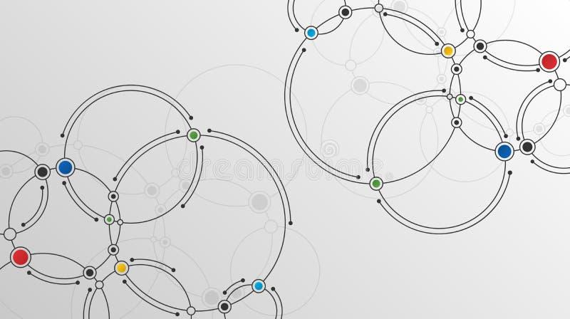 Förbindelselinjer och prickteknologibakgrund royaltyfri illustrationer