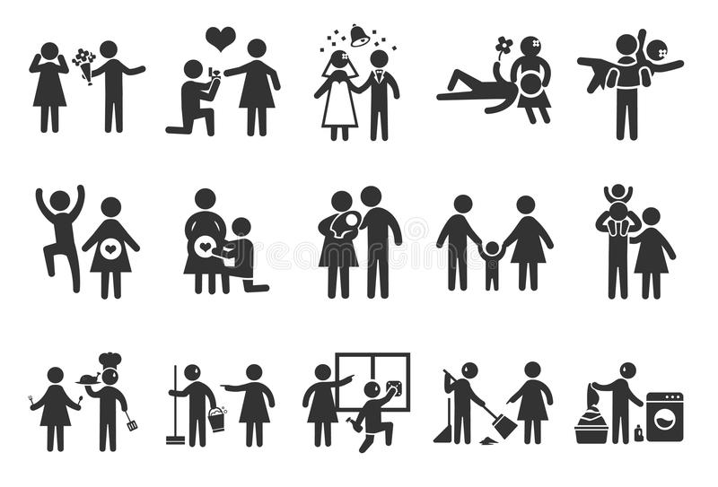Förbindelselivsymboler stock illustrationer