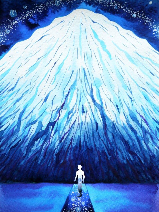 Förbinder andlig energi för den mänskliga anslutningsmeningen till universummakten royaltyfri illustrationer