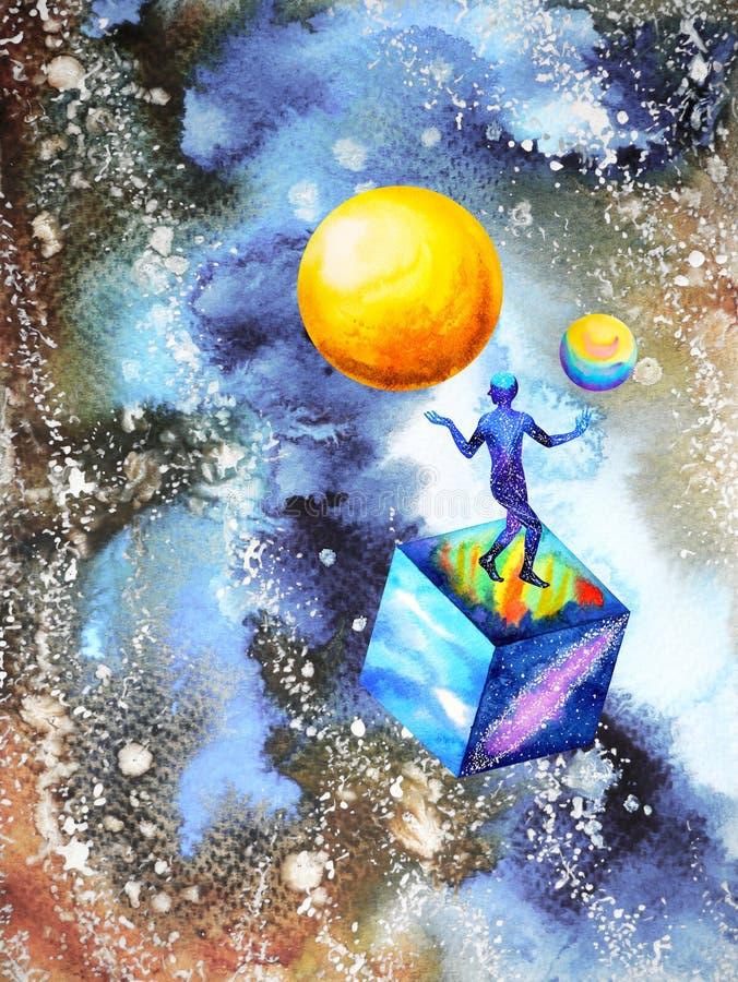Förbinder den andliga meningen för abstrakt mänsklig universummakt illustrationen vektor illustrationer
