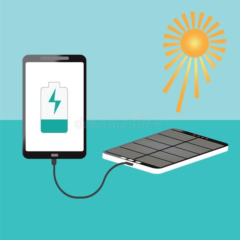 Förbinder hållande smartphoneuppladdning för mänsklig hand med sol- powerb royaltyfri illustrationer