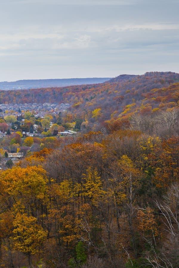Förbise Autumn Landscape från den Niagara brant sluttning, Ontario arkivbild
