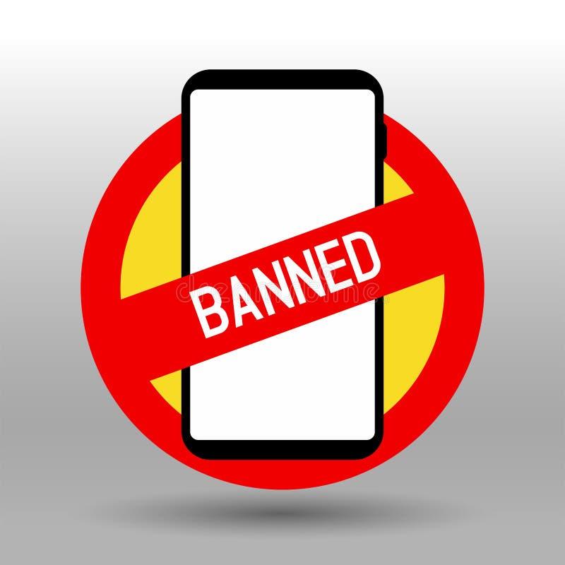 Förbjuda det mobiltelefon förböd tecknet royaltyfri illustrationer