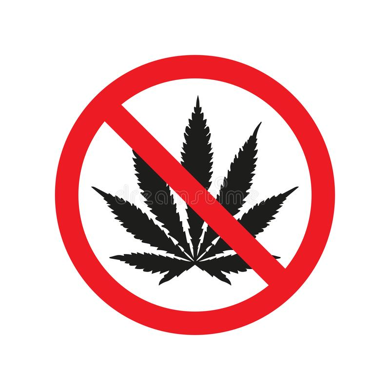 Förbjuda tecknet inga friktioner med marijuanasymbolen också vektor för coreldrawillustration vektor illustrationer