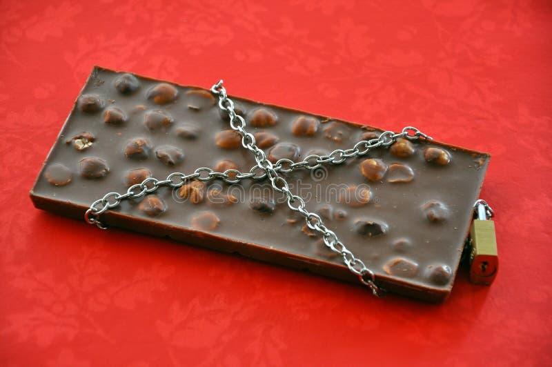 förbjuden chokladmat arkivfoto