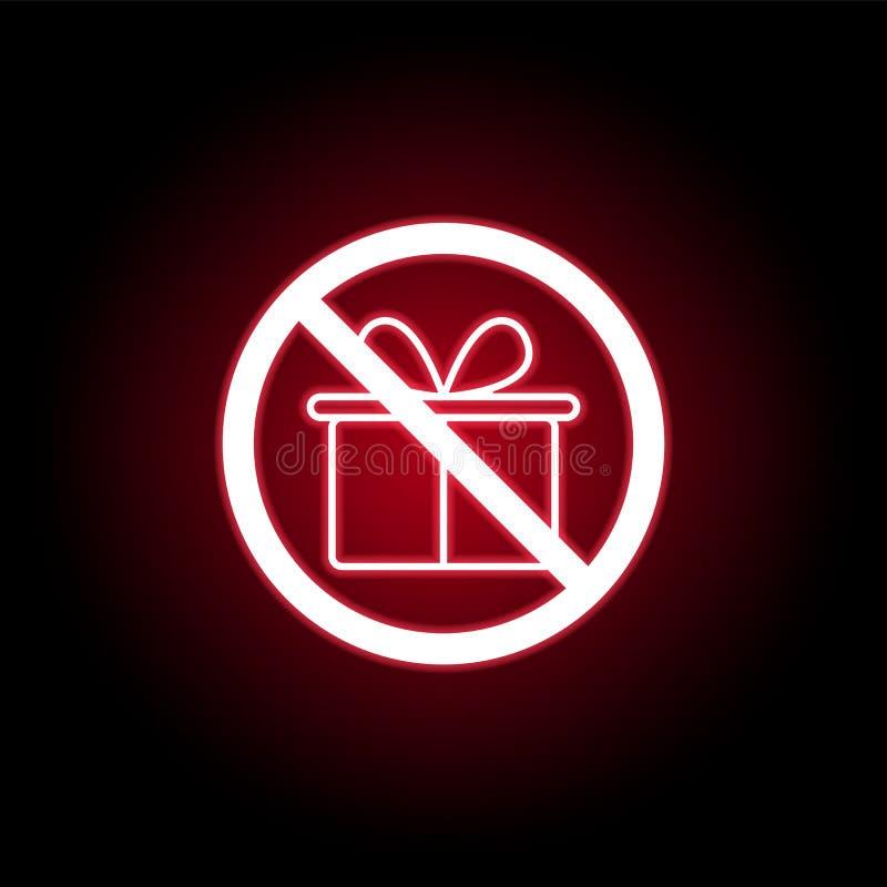 Förbjuden gåvasymbol i röd neonstil Kan anv?ndas f?r reng?ringsduken, logoen, den mobila appen, UI, UX stock illustrationer