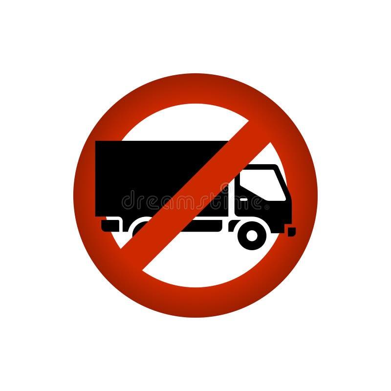 Förbjuden/lastbil förbjuden teckensymbol för lastbil vektor illustrationer