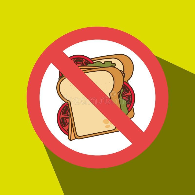 förbjuden smörgåssnabbmatunhealth royaltyfri illustrationer