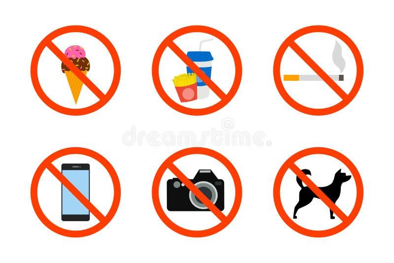 Förbjuden symbolsuppsättning royaltyfri illustrationer