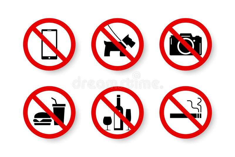 Förbjuden uppsättning av isolerat förbjudit, inte låtet, inget tecken stock illustrationer