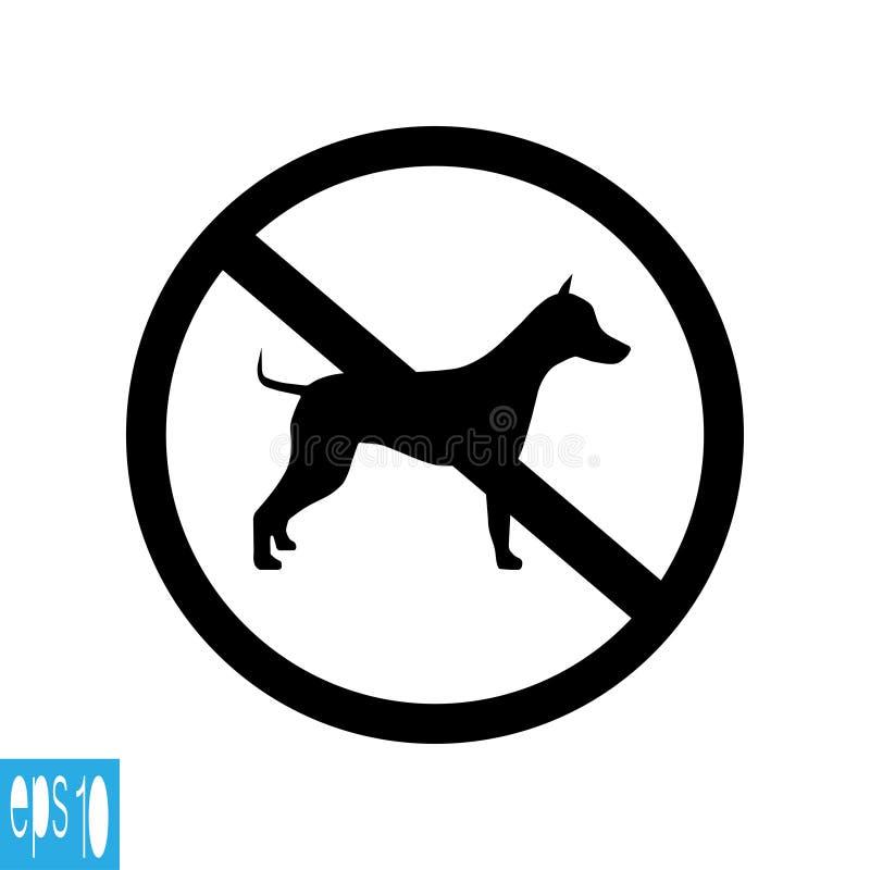 Förbjudet djurt tecken för runda, symbol på vit bakgrund, svart tunn linje på vit bakgrund - vektorillustration royaltyfri illustrationer