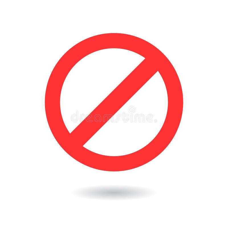 Förbjudet enkelt rött tecken med skugga på vit bakgrund stock illustrationer