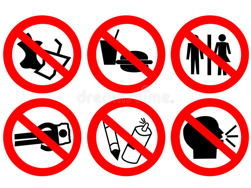 förbjudet offentligt teckenavstånd vektor illustrationer