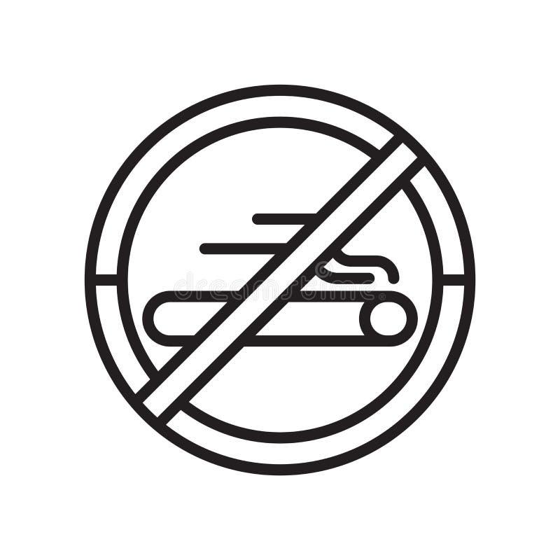 Förbjudet röka tecken och symbol för signalsymbolsvektor som isoleras på vit bakgrund som förbjudas att röka signallogobegrepp royaltyfri illustrationer