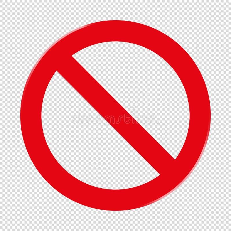 Förbjudet tecken - genomskinlig bakgrund royaltyfri illustrationer