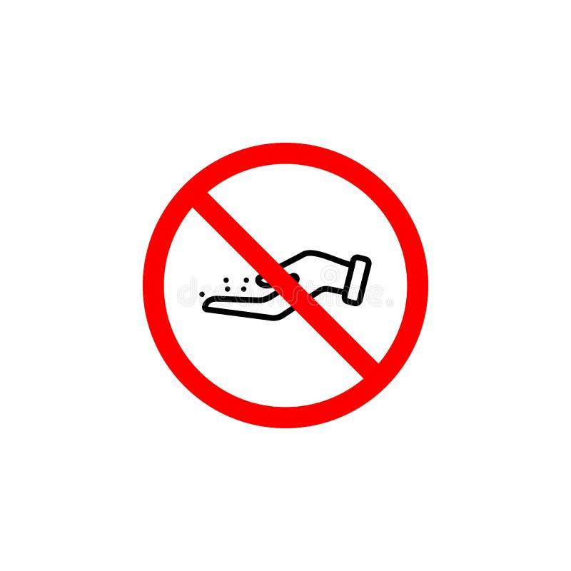 Förbjudit att ge mat, kan handsymbolen användas för rengöringsduken, logoen, den mobila appen, UI UX stock illustrationer