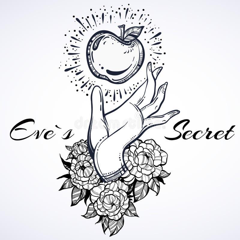 Förbjudit innehav för hand för helgdagsafton` s Hög-specificerad härlig tatueringdesign Begreppskonst Beståndsdel av en biblisk b stock illustrationer