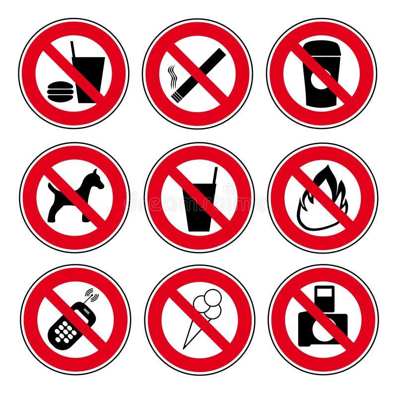 Förbjudit tecken för symbol uppsättning royaltyfri illustrationer