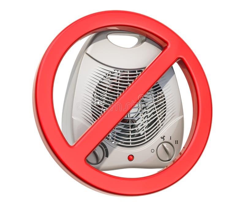 Förbjudit tecken med fanvärmeapparaten, elektriskt överbelastningsbegrepp framförande 3d vektor illustrationer