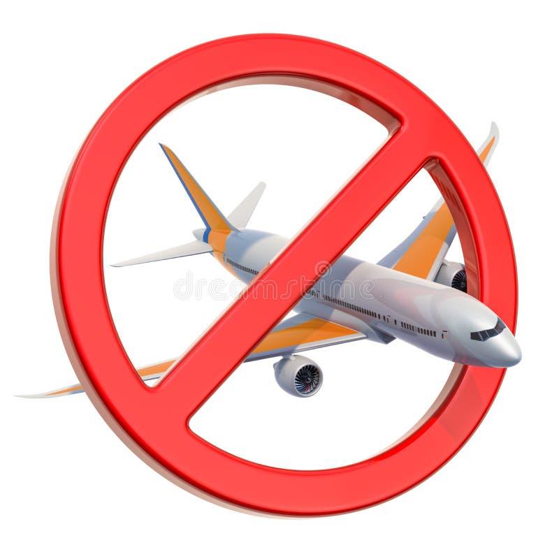Förbjudit tecken med flygplanet, tolkning 3D vektor illustrationer