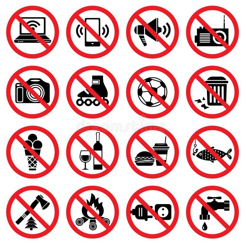 förbjudna tecken stock illustrationer