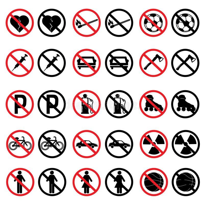 förbjudna tecken royaltyfri illustrationer