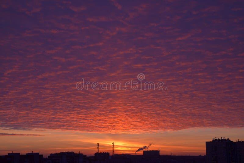Förbluffa Armageddon som röd rosa purpurfärgad orange gul solnedgång för dramatisk färg över stad Brinnande himmel för brand royaltyfri foto