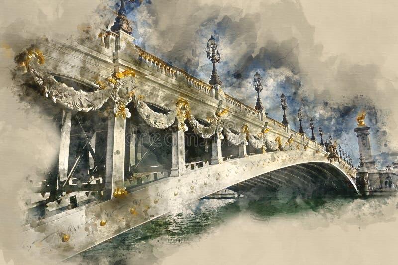 Förbluffa den Alexandre III bron i staden av Paris royaltyfri bild