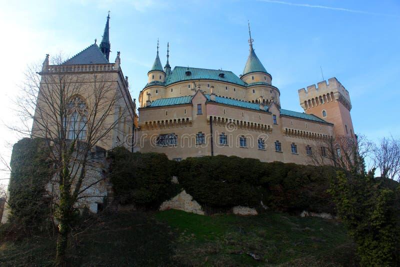 Förbluffa den Bojnice slotten, Bojnice, Slovakien arkivfoton