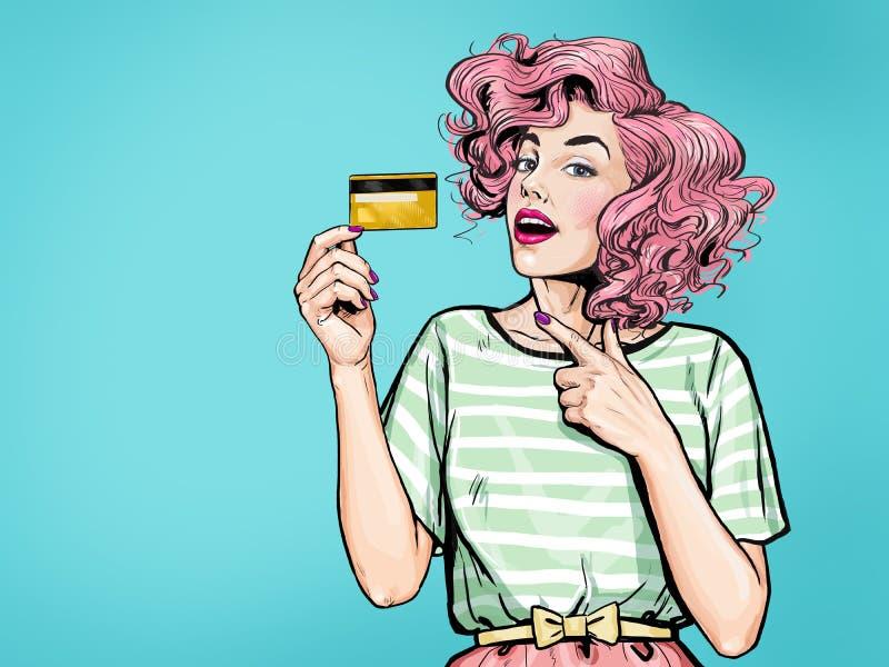 Förbluffa den sexiga kvinnavisningkreditkorten le för lady OMG royaltyfri illustrationer