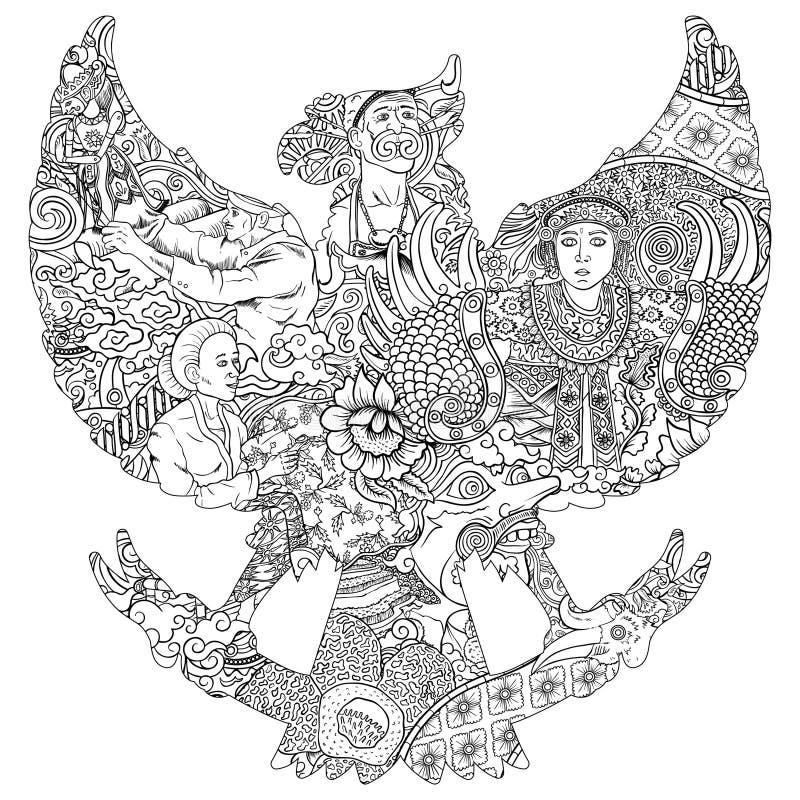 Förbluffa indonesia kultur i svartvit illustration för garudasilhouete vektor illustrationer