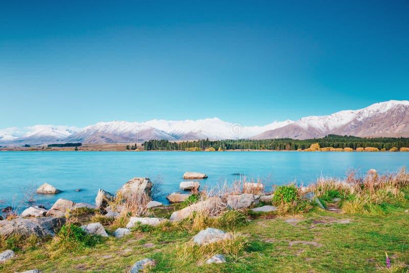 Förbluffa landskap som beskådas från den Tekapo observatoriet arkivbilder