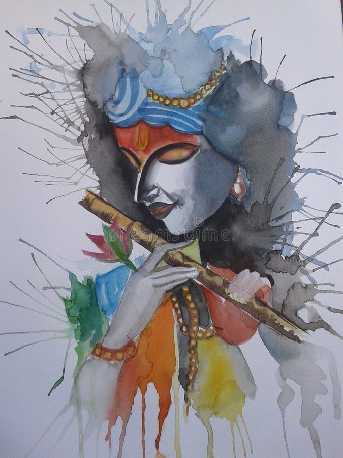 Förbluffa Lord Krishna bhagwan målning royaltyfri foto