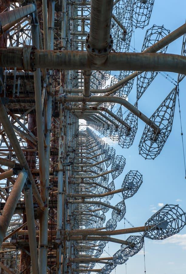 Förbluffa radiomitten Duga i Pripyat, Tjernobyl område arkivfoton
