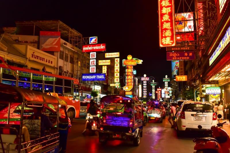 F?rbluffa sikt av den Kina staden i Bangkok arkivfoto