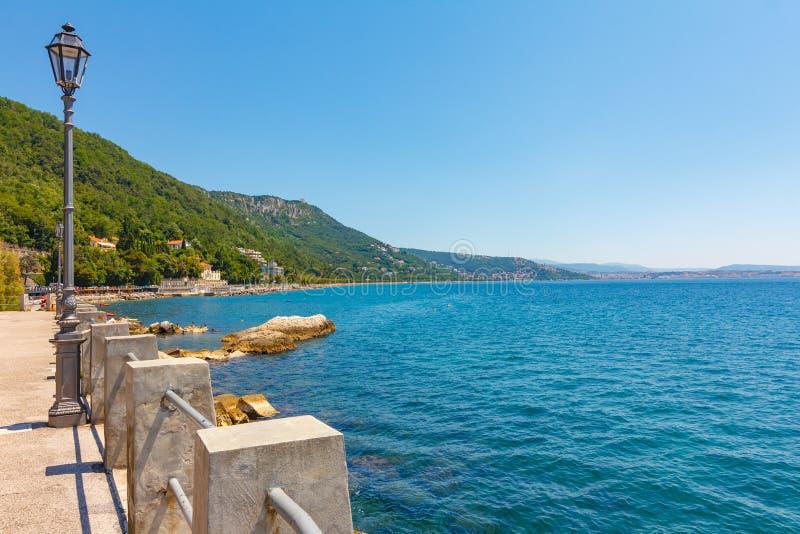 Förbluffa sjösidasikt av det blåa Adriatiskt havet med azurt vatten och blå himmel Det finns en lampa på havskusten framme av grä royaltyfria foton