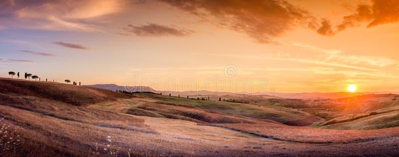 Förbluffa tuscan panorama royaltyfri fotografi