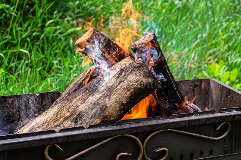 Förbränning av trästockar i en stålbänk royaltyfri bild